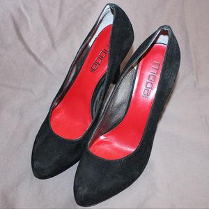 """Moda Spana 4 1/2"""" black suede heels"""